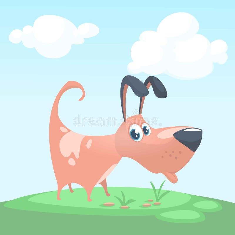 Χαριτωμένη διανυσματική απεικόνιση κινούμενων σχεδίων κουταβιών Αστείο καφετί εικονίδιο σκυλιών Σχέδιο για την τυπωμένη ύλη ή την διανυσματική απεικόνιση
