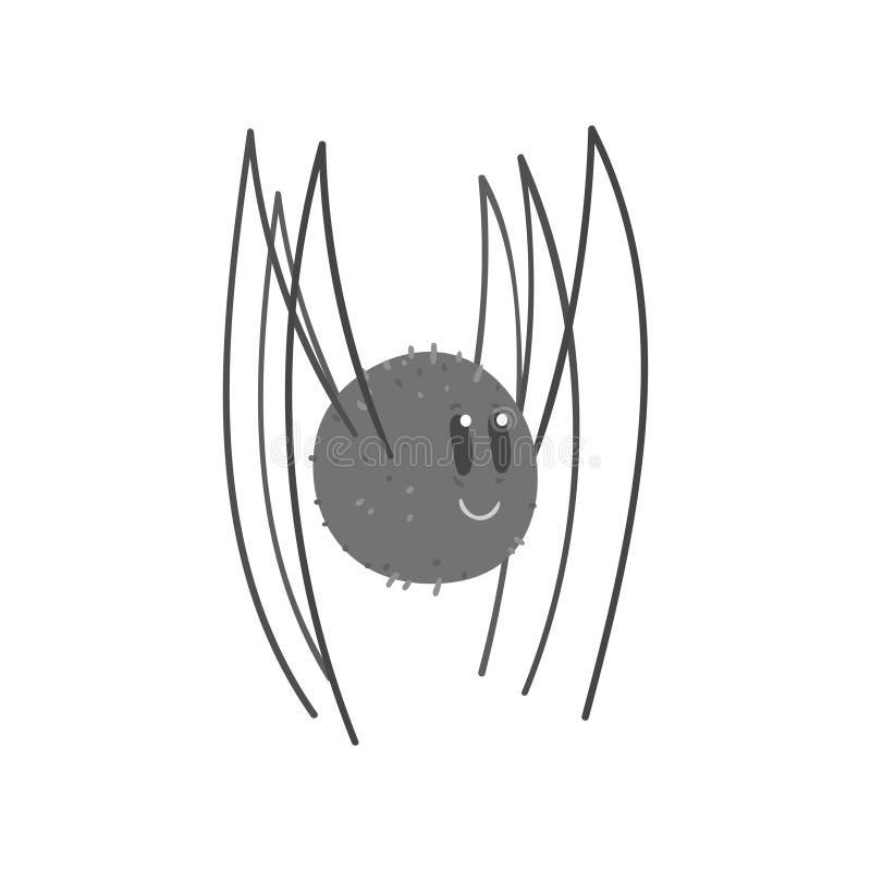 Χαριτωμένη διανυσματική απεικόνιση χαρακτήρα αραχνών κινούμενων σχεδίων μαύρη απεικόνιση αποθεμάτων