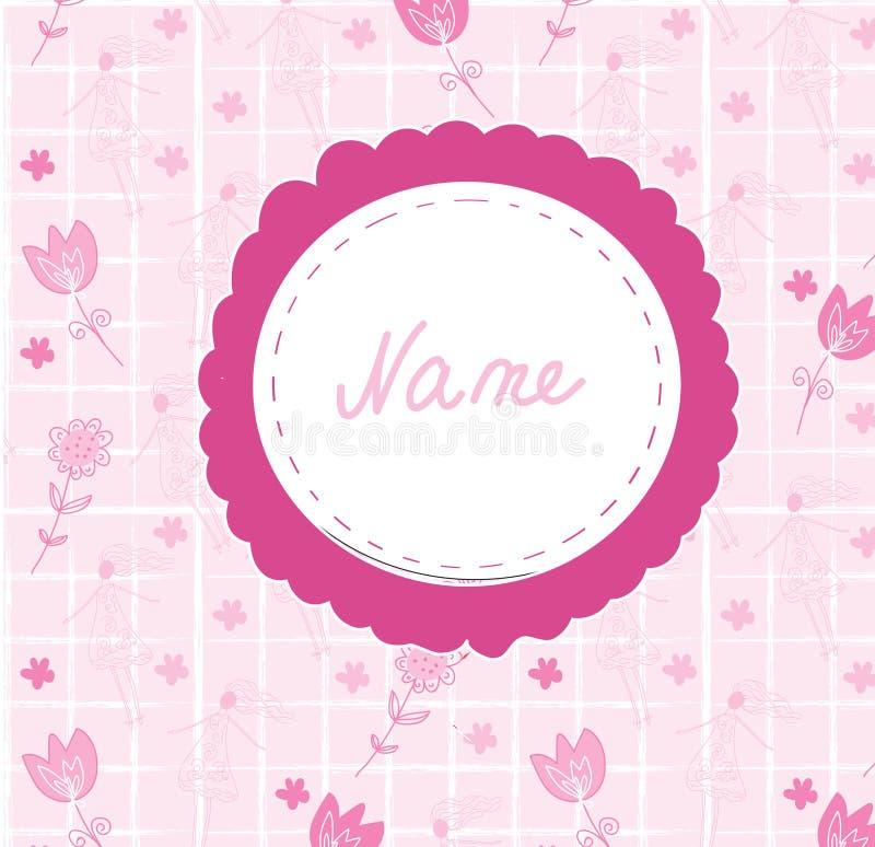 Χαριτωμένη κάρτα ανακοίνωσης κοριτσάκι με το πλαίσιο διανυσματική απεικόνιση