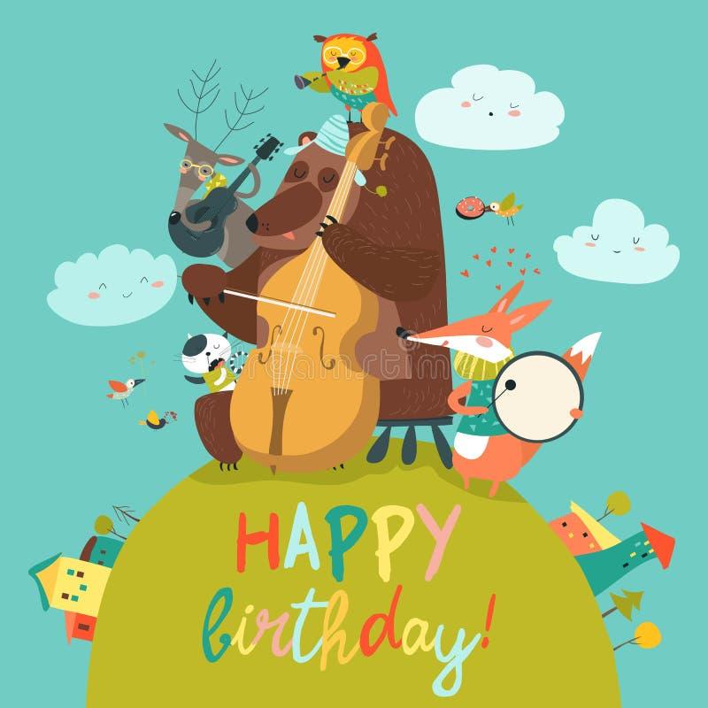 Χαριτωμένη κάρτα γενεθλίων με τα ζώα και τη μουσική διανυσματική απεικόνιση