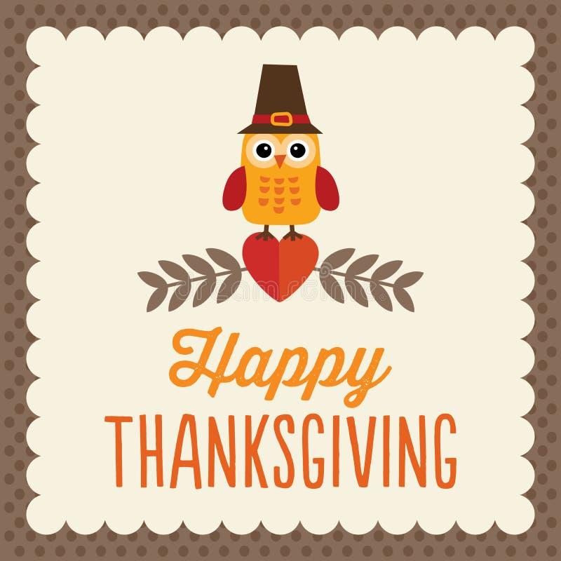 Χαριτωμένη κάρτα ημέρας των ευχαριστιών διανυσματική απεικόνιση