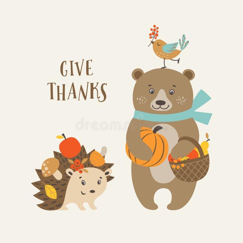 Χαριτωμένη κάρτα ημέρας των ευχαριστιών απεικόνιση αποθεμάτων