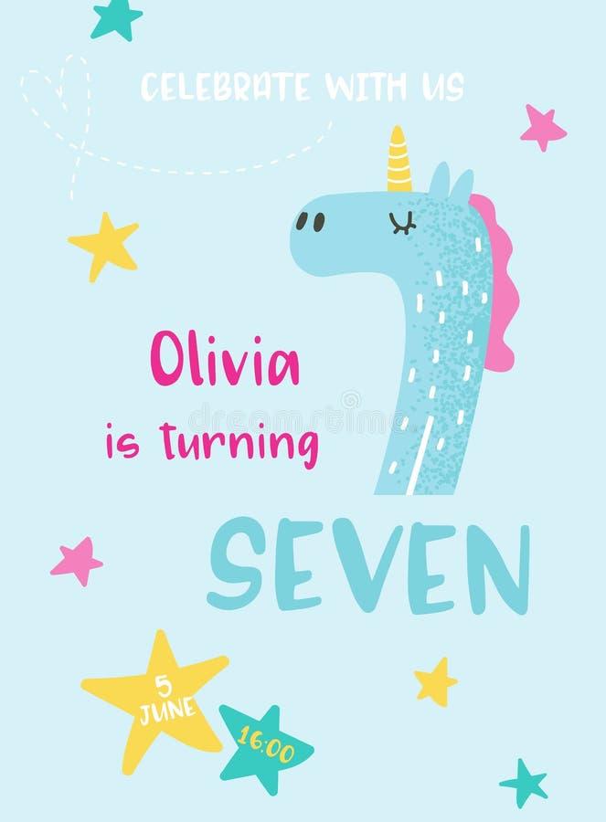 Χαριτωμένη κάρτα μωρών γενεθλίων με το μονόκερο και τον αριθμό επτά, κάρτα πρόσκλησης, ιπτάμενο, αφίσα, απεικόνιση χαιρετισμών διανυσματική απεικόνιση