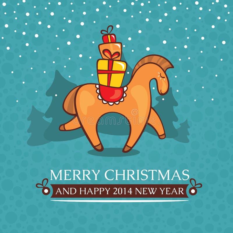 Χαριτωμένη κάρτα μωρών Χριστουγέννων με το άλογο και τα δώρα διανυσματική απεικόνιση