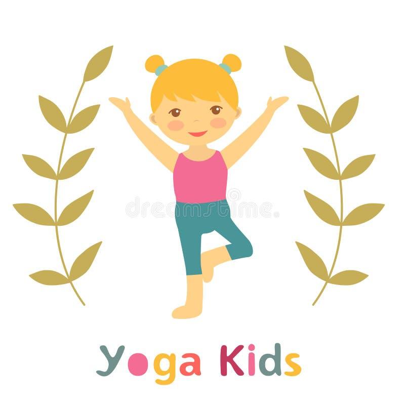 Χαριτωμένη κάρτα παιδιών γιόγκας με το μικρό κορίτσι που κάνει τη γιόγκα διανυσματική απεικόνιση