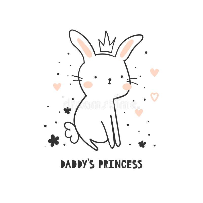 Χαριτωμένη κάρτα πριγκηπισσών λαγουδάκι διανυσματική απεικόνιση