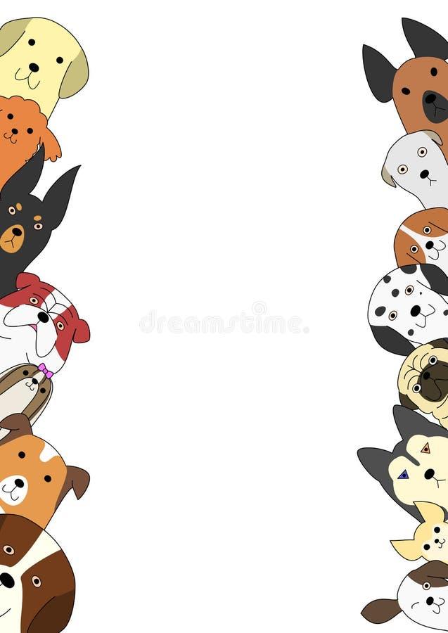 Χαριτωμένη κάρτα σκυλιών ελεύθερη απεικόνιση δικαιώματος