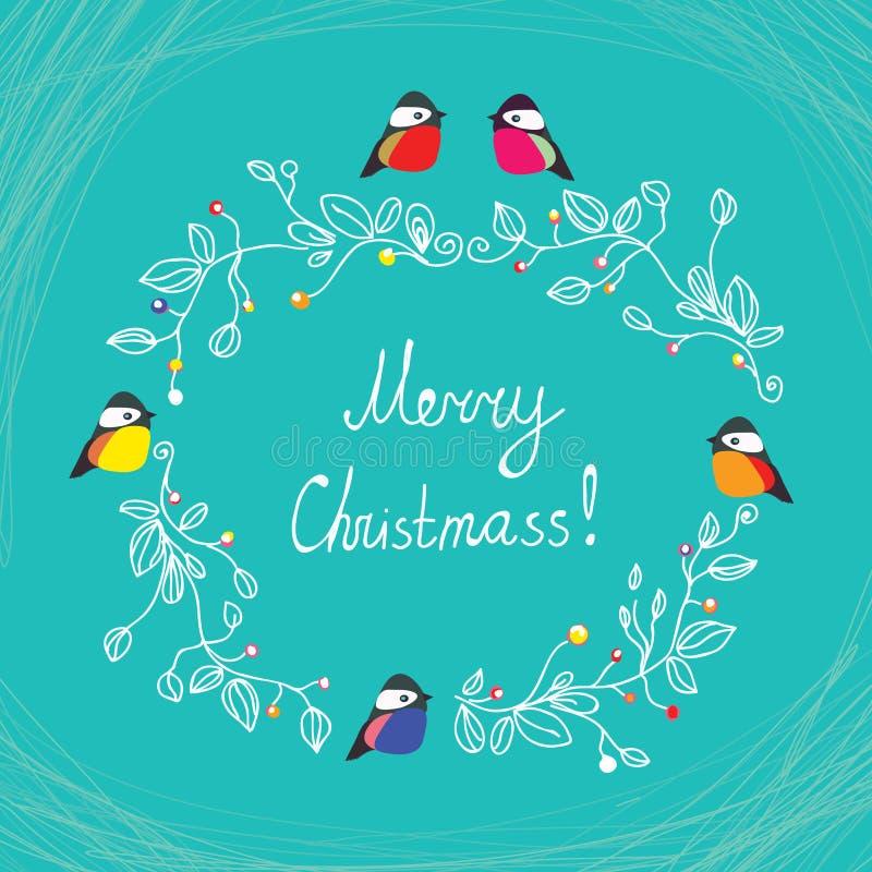 Χαριτωμένη κάρτα Χαρούμενα Χριστούγεννας με τα πουλιά διανυσματική απεικόνιση