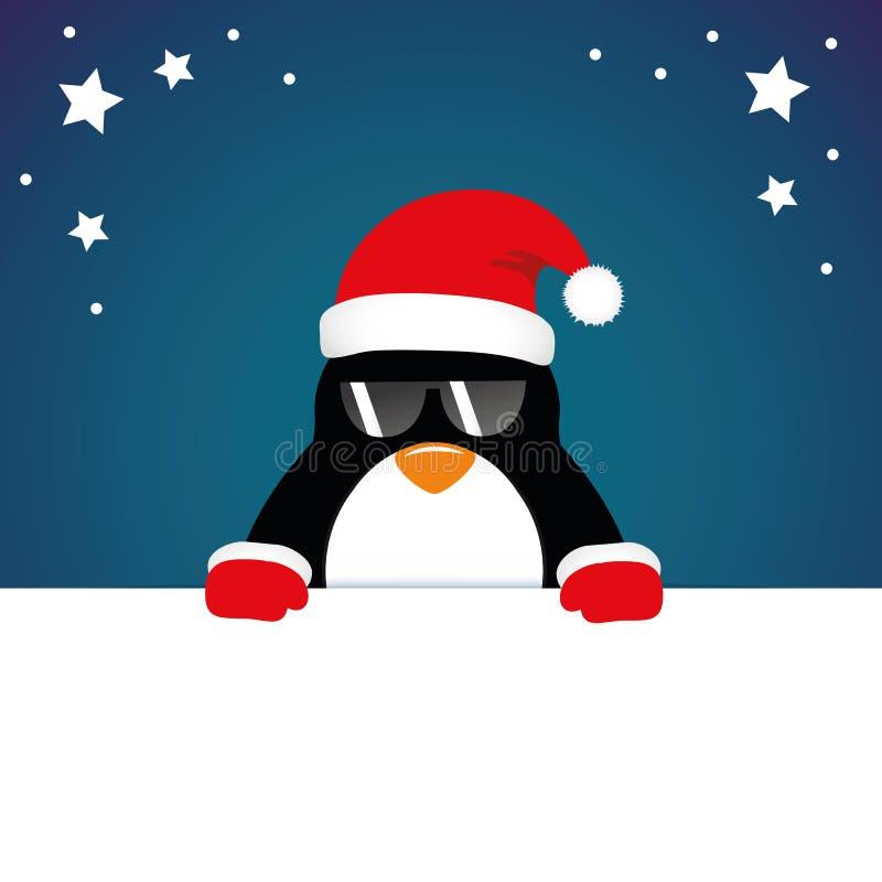 Χαριτωμένη κάρτα Χριστουγέννων κινούμενων σχεδίων penguin ελεύθερη απεικόνιση δικαιώματος