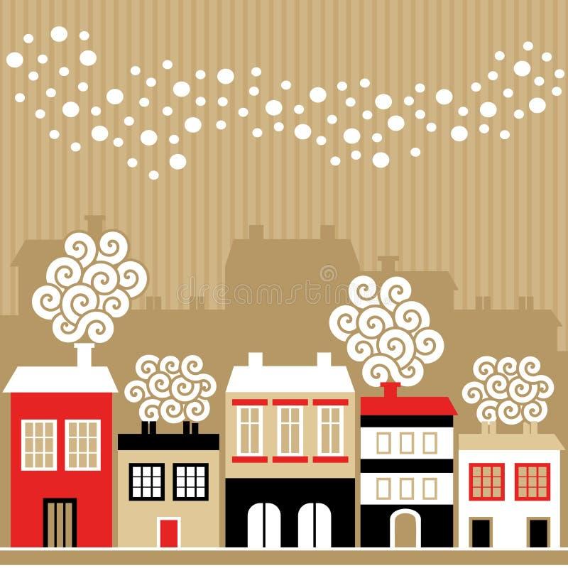 Χαριτωμένη κάρτα Χριστουγέννων με τα χειμερινά σπίτια, μειωμένα snowflakes, απεικόνιση απεικόνιση αποθεμάτων