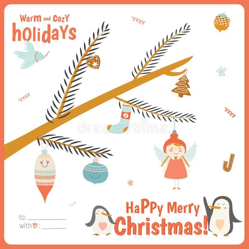 Χαριτωμένη κάρτα Χριστουγέννων με τον κλάδο δέντρων ελεύθερη απεικόνιση δικαιώματος