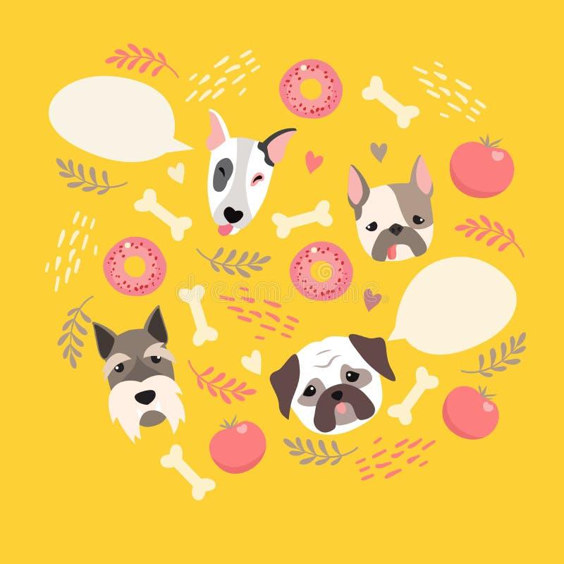 Χαριτωμένη κάρτα χρώματος απεικόνισης σκυλιών απεικόνιση αποθεμάτων