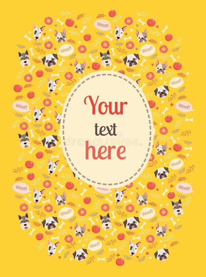 Χαριτωμένη κάρτα χρώματος σκυλιών με το σύννεφο ελεύθερη απεικόνιση δικαιώματος