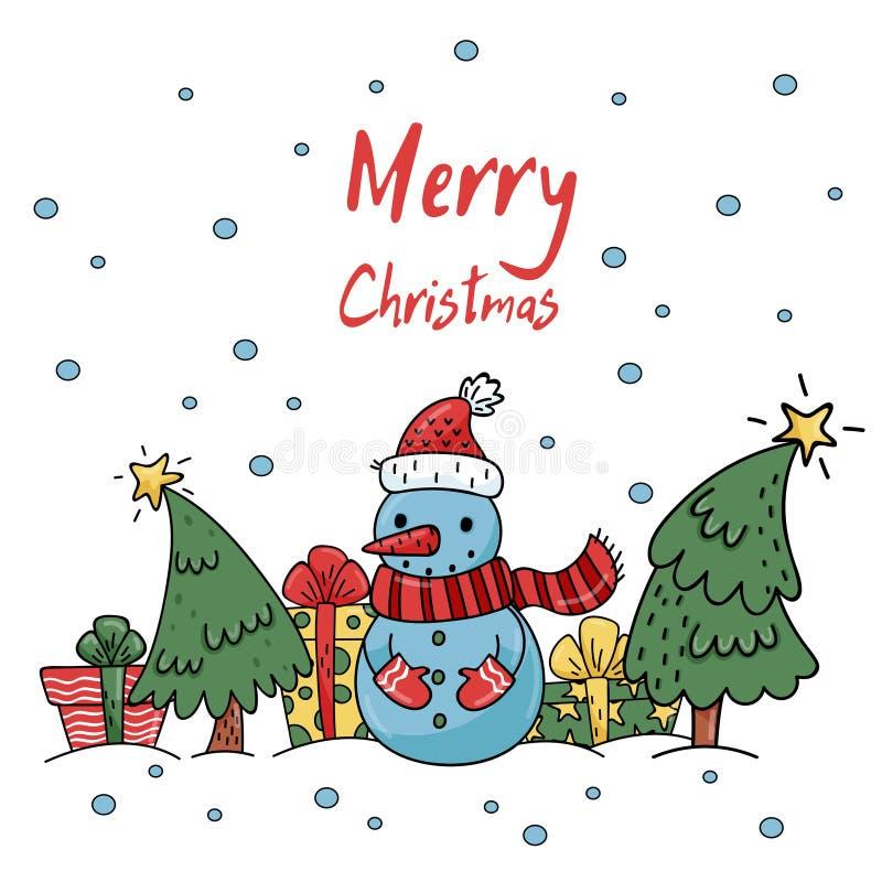 Χαριτωμένη κάρτα cristmas με το χιονάνθρωπο διανυσματική απεικόνιση