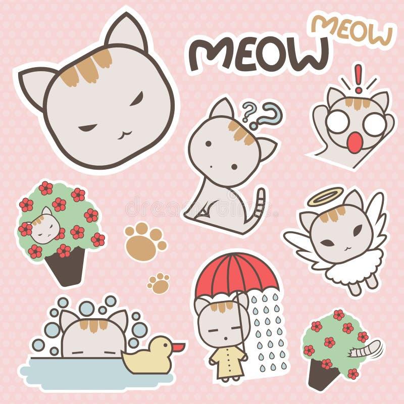 Χαριτωμένη και γλυκιά Meow τέχνη αυτοκόλλητων ετικεττών κινούμενων σχεδίων γατών - διάνυσμα απεικόνιση αποθεμάτων