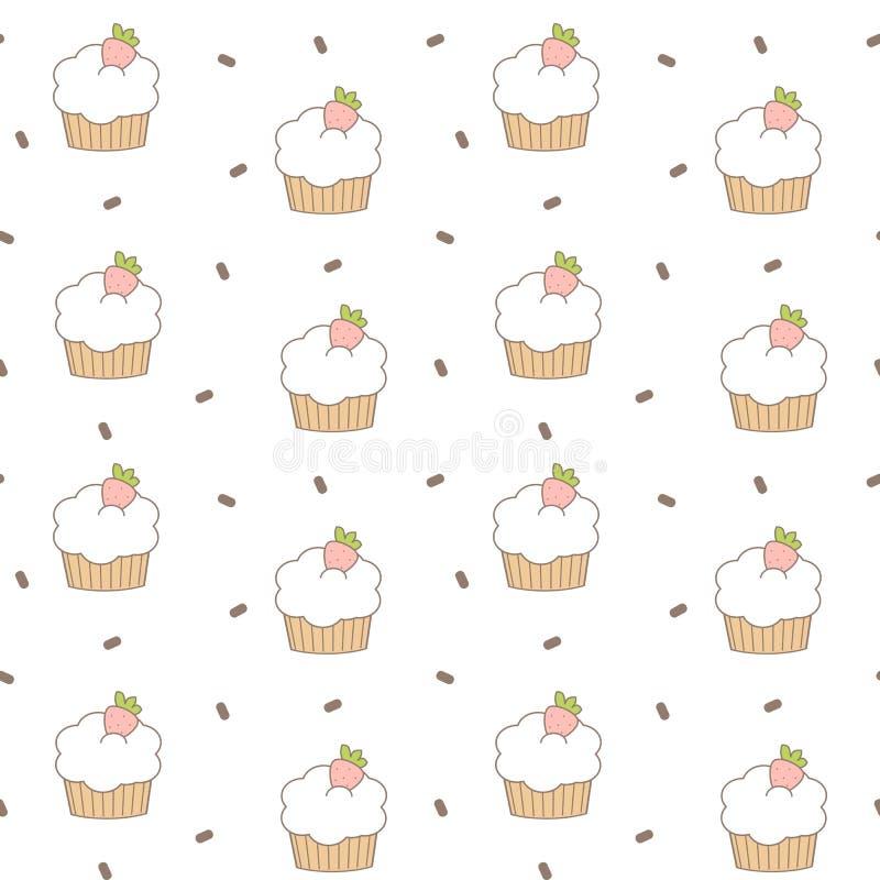 Χαριτωμένη καλή απεικόνιση υποβάθρου σχεδίων κινούμενων σχεδίων cupcakes άνευ ραφής διανυσματική διανυσματική απεικόνιση