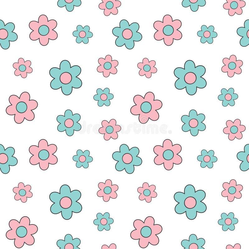 Χαριτωμένη καλή ρόδινη και μπλε κινούμενων σχεδίων μαργαριτών απεικόνιση υποβάθρου λουλουδιών άνευ ραφής διανυσματική απεικόνιση