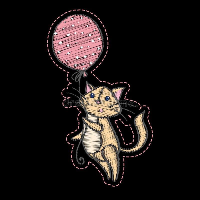Χαριτωμένη κεντημένη γάτα που πετά στο μπαλόνι για το σχέδιο μόδας παιδιών ελεύθερη απεικόνιση δικαιώματος