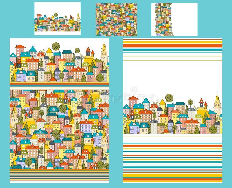 Χαριτωμένη κλινοστρωμνή εφήβων ή παιδιών που τίθεται με τα σπίτια πόλεων doodle Δύο duvet και τρία μαξιλάρια Ευτυχής φωτεινή παλέ διανυσματική απεικόνιση