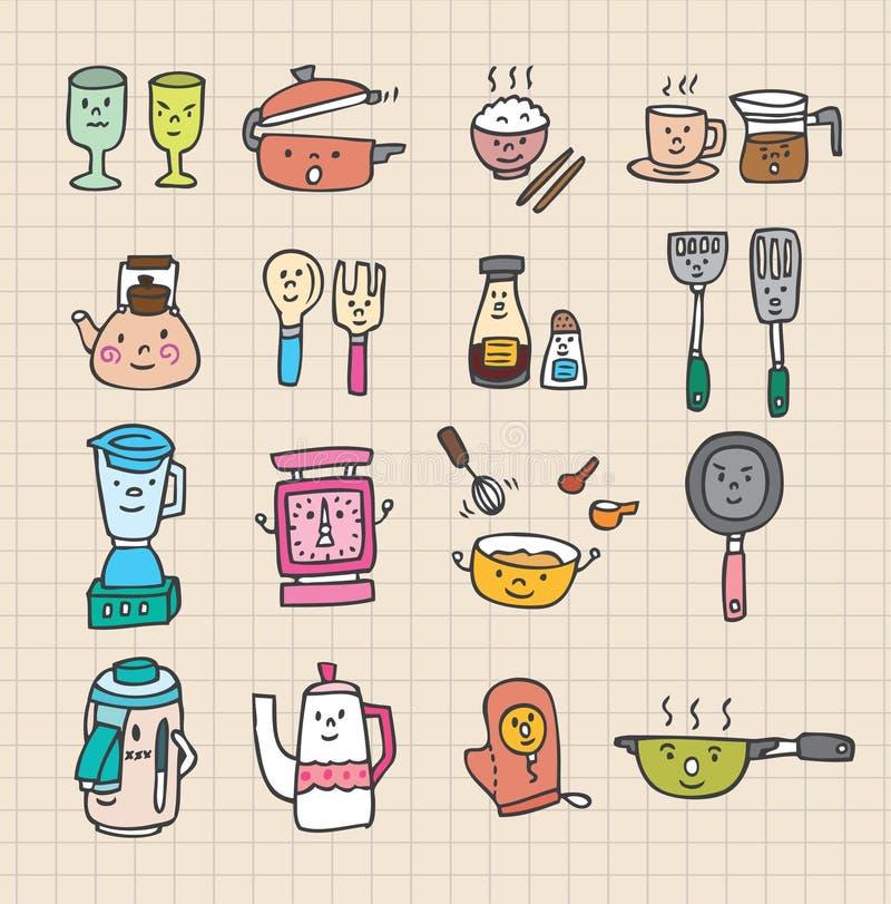 χαριτωμένη κουζίνα στοιχ&eps ελεύθερη απεικόνιση δικαιώματος