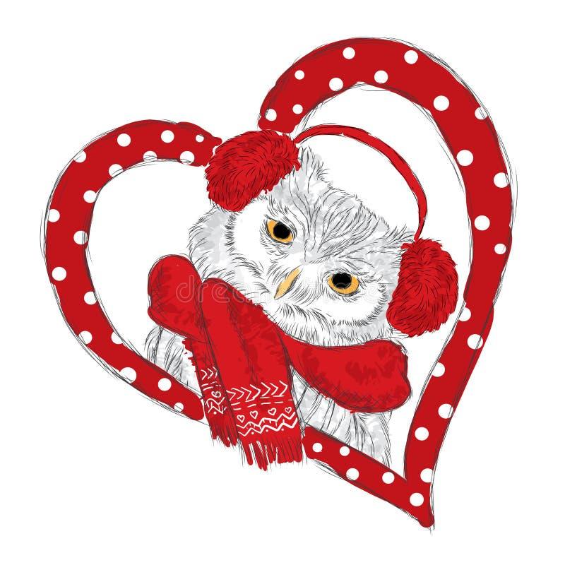 Χαριτωμένη κουκουβάγια που φορά ένα μαντίλι και τα ακουστικά Χειμώνας Κουκουβάγια στην καρδιά ρωμανικός s ST ημέρας βαλεντίνος κα απεικόνιση αποθεμάτων