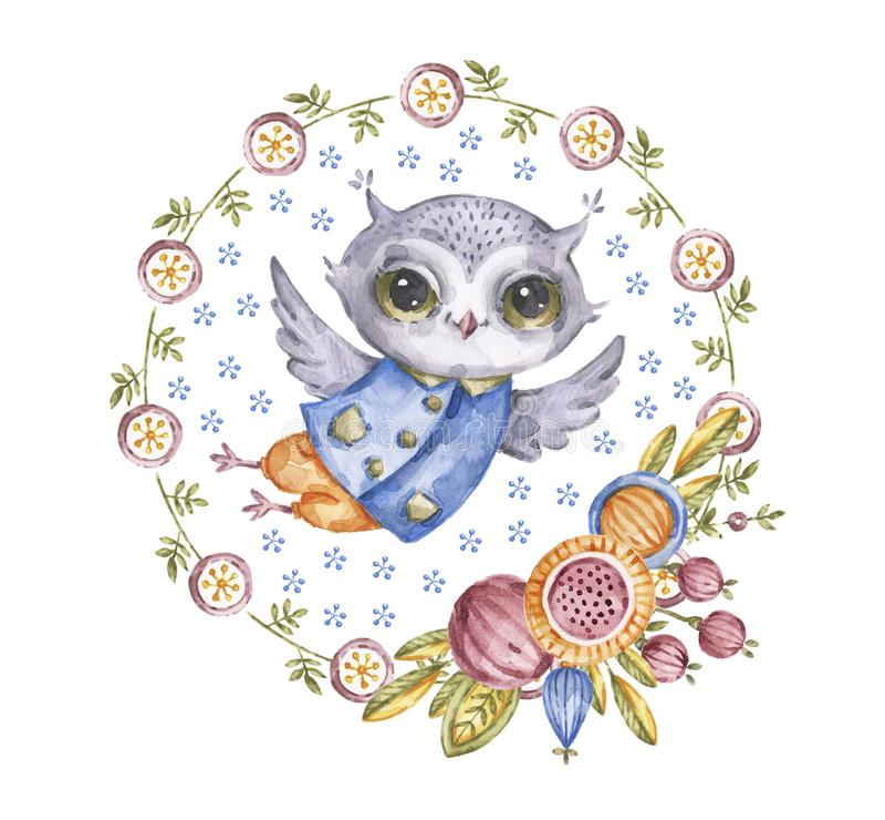 Χαριτωμένη κουκουβάγια watercolour στο στεφάνι λουλουδιών κύκλων απεικόνιση αποθεμάτων