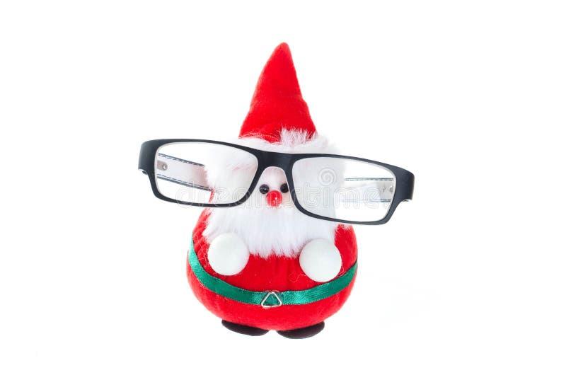 Χαριτωμένη κούκλα santa με τα γυαλιά ματιών στοκ φωτογραφίες