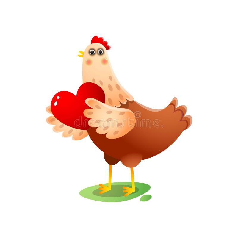 Χαριτωμένη κότα kawai με τη μεγάλη κόκκινη καρδιά στα φτερά πέρα από το άσπρο υπόβαθρο διανυσματική απεικόνιση