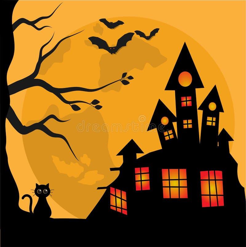 Χαριτωμένη μαύρη γάτα εμβλημάτων αποκριών με ένα απόκοσμο σπίτι διανυσματική απεικόνιση