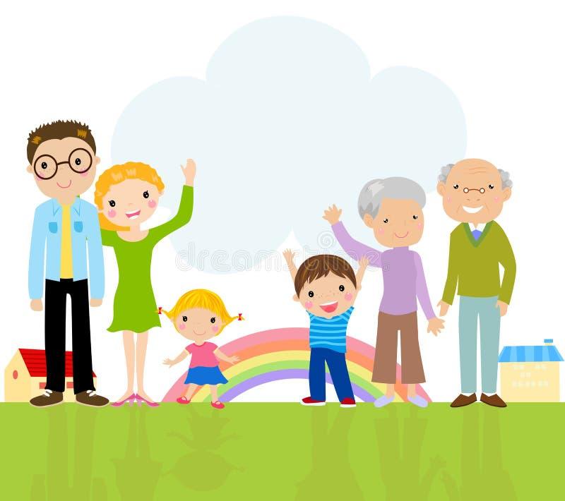 Χαριτωμένη μεγάλη οικογένεια απεικόνιση αποθεμάτων