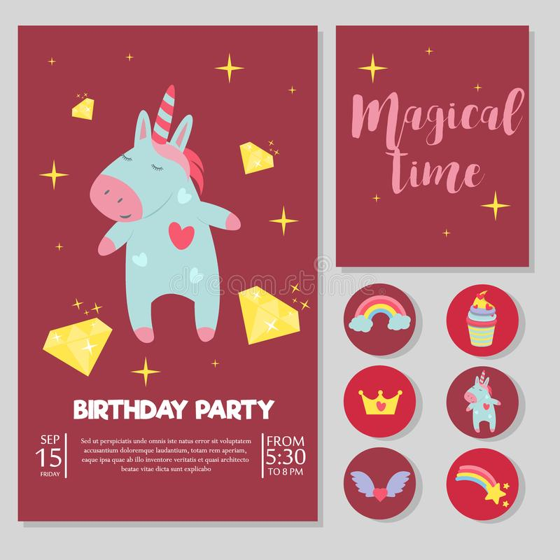 Χαριτωμένη μονοκέρων μωρών γιορτών γενεθλίων καρτών διανυσματική απεικόνισης μαγική ουράνιων τόξων φαντασίας νεράιδων τέχνη παραμ ελεύθερη απεικόνιση δικαιώματος