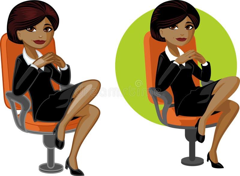 Χαριτωμένη νέα γυναίκα γραφείων αφροαμερικάνων στην καρέκλα διανυσματική απεικόνιση