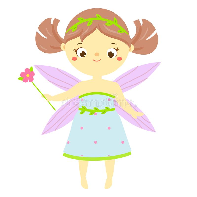 Χαριτωμένη νεράιδα με τη μαγική ράβδο λουλουδιών Κινούμενα σχέδια λίγη πετώντας πριγκήπισσα, pixie, χαρακτήρας φαντασίας νεραιδών διανυσματική απεικόνιση