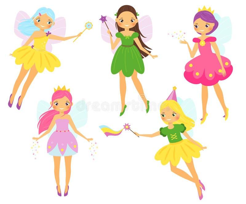 Χαριτωμένη νεράιδα Φτερωτή πριγκήπισσα νεράιδων κινούμενων σχεδίων που χτυπά τις μαγικές ράβδους Pixie, σύνολο χαρακτήρων κοριτσι απεικόνιση αποθεμάτων