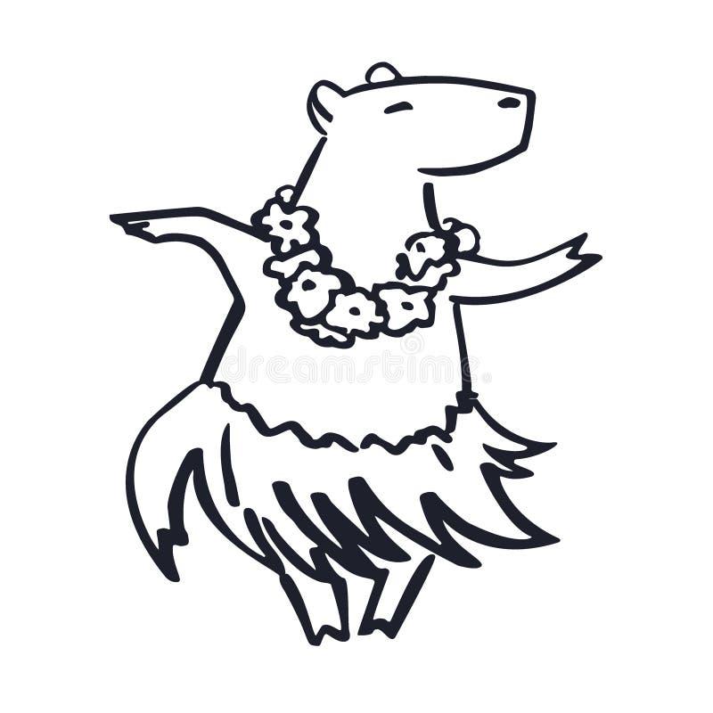 Χαριτωμένη ντυμένη με κοστούμι η Χαβάη μασκότ capybara κινούμενων σχεδίων χορευτών διανυσματική απεικόνιση