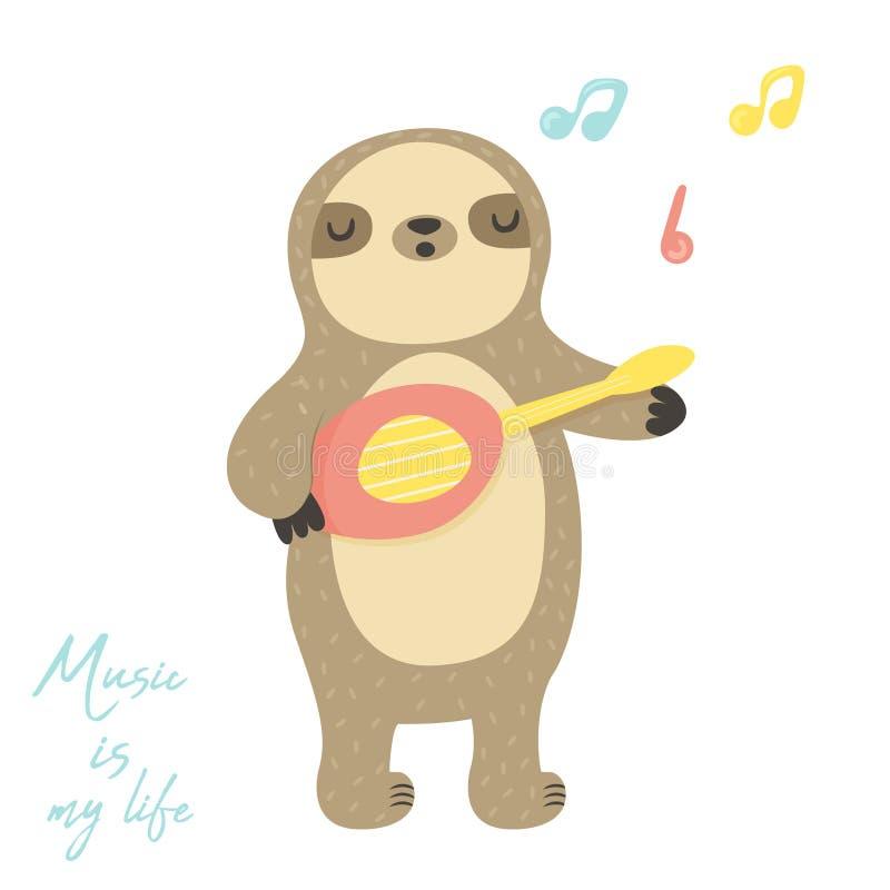 Χαριτωμένη νωθρότητα τραγουδιού που παίζει λίγο ukulele διανυσματική απεικόνιση