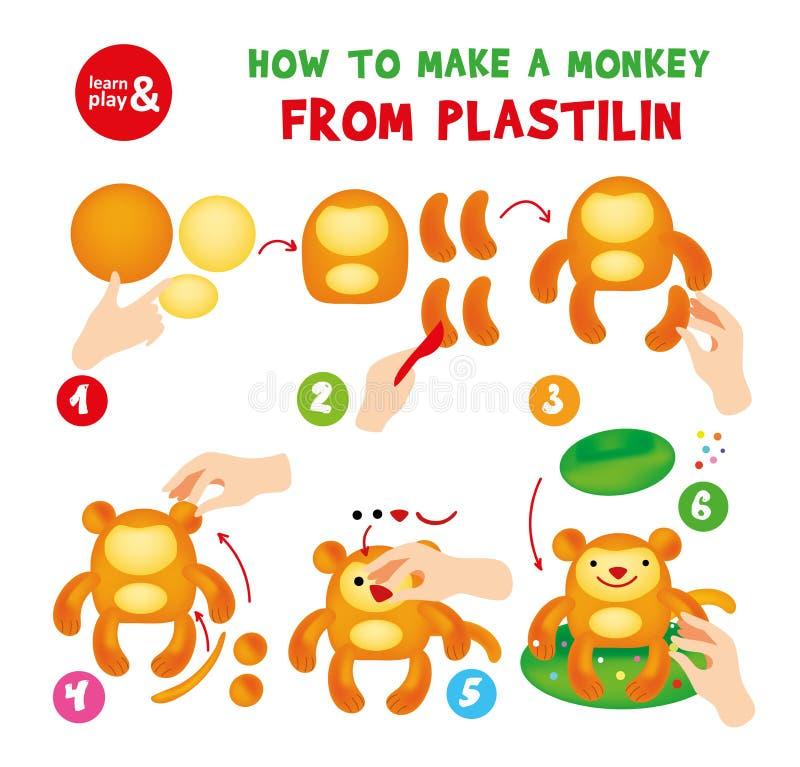 Χαριτωμένη οδηγία βημάτων πιθήκων Plasticine για το παιδί ελεύθερη απεικόνιση δικαιώματος
