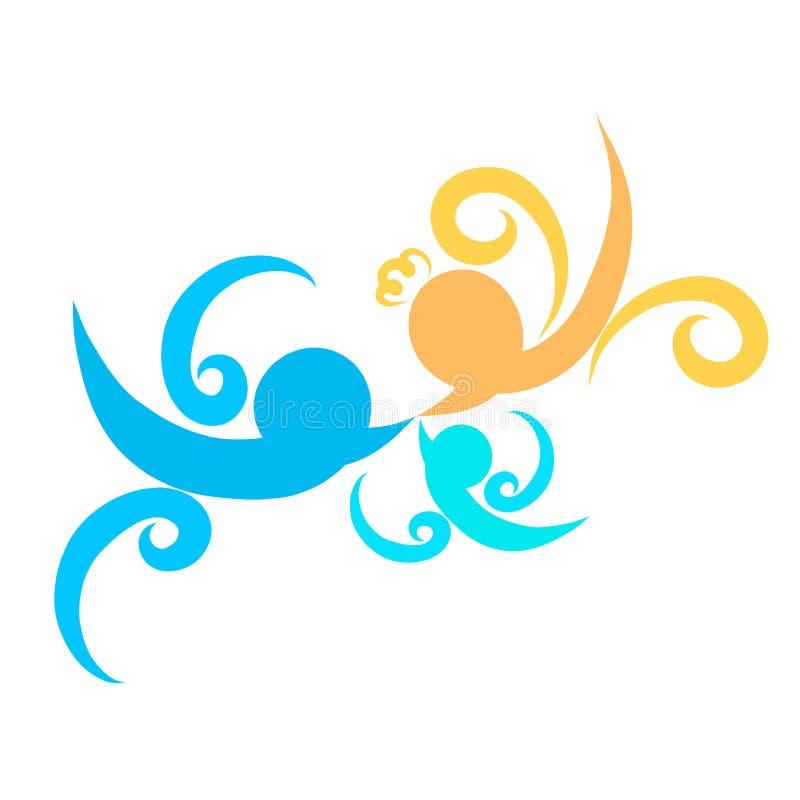 Χαριτωμένη οικογένεια, τρία χρωματισμένα πουλιά, ζωηρόχρωμο σχέδιο απεικόνιση αποθεμάτων