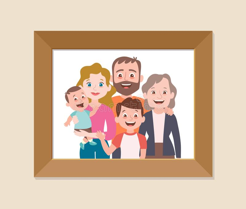 Χαριτωμένη οικογενειακή μαζί πλαισιωμένη φωτογραφία ελεύθερη απεικόνιση δικαιώματος