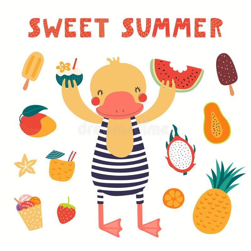 Χαριτωμένη πάπια το καλοκαίρι ελεύθερη απεικόνιση δικαιώματος