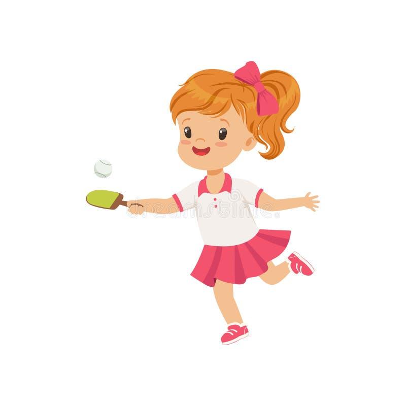 Χαριτωμένη παίζοντας επιτραπέζια αντισφαίριση μικρών κοριτσιών, διανυσματική απεικόνιση έννοιας σωματικής δραστηριότητας παιδιών  διανυσματική απεικόνιση