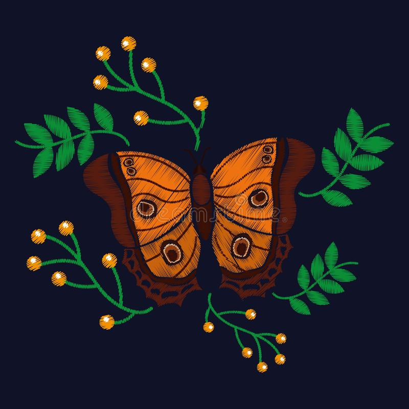 Χαριτωμένη πεταλούδα με την εξωτική κεντητική μόδας μούρων φύλλων απεικόνιση αποθεμάτων