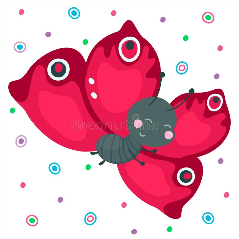 Χαριτωμένη πεταλούδα χαμόγελου κινούμενων σχεδίων Κόκκινο που πετά το αστείο έντομο για το σχέδιο μωρών Όμορφο καλό ζώο r διανυσματική απεικόνιση