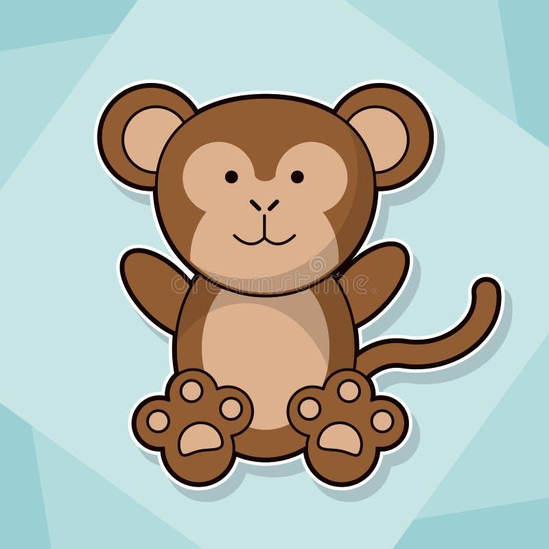 Χαριτωμένη πιθήκων εικόνα κινούμενων σχεδίων μωρών ζωική ελεύθερη απεικόνιση δικαιώματος