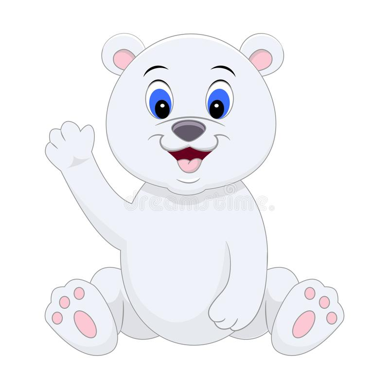 Χαριτωμένη πολική αρκούδα κινούμενων σχεδίων που κυματίζει το χέρι του επίσης corel σύρετε το διάνυσμα απεικόνισης απεικόνιση αποθεμάτων