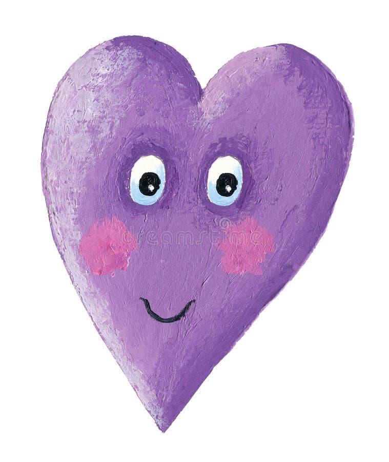 Χαριτωμένη πορφυρή καρδιά χαμόγελου ελεύθερη απεικόνιση δικαιώματος