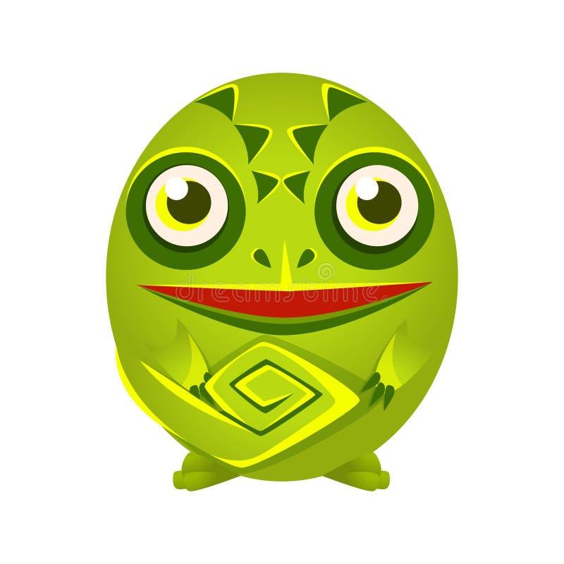 Χαριτωμένη πράσινη διανυσματική απεικόνιση χαρακτήρα κινουμένων σχεδίων χαμαιλεόντων γεωμετρική αμφίβια, ζωηρόχρωμη ελεύθερη απεικόνιση δικαιώματος