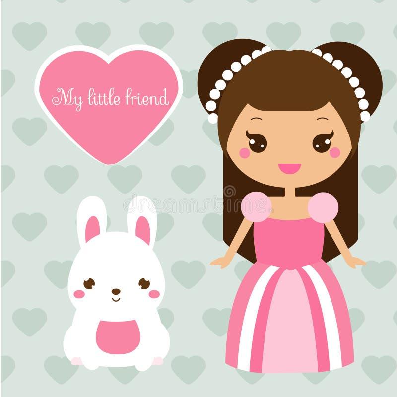 Χαριτωμένη πριγκήπισσα με το κατοικίδιο ζώο κουνελιών Κορίτσι στο ρόδινα φόρεμα και το λαγουδάκι Διανυσματική απεικόνιση στο ύφος διανυσματική απεικόνιση