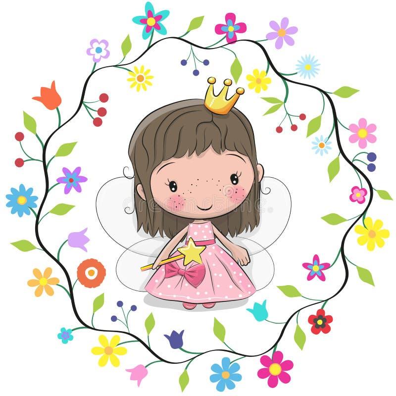 Χαριτωμένη πριγκήπισσα σε ένα πλαίσιο λουλουδιών απεικόνιση αποθεμάτων