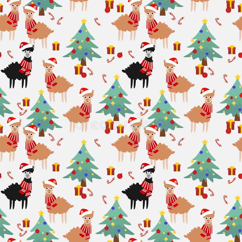 Χαριτωμένη προβατοκάμηλος στο άνευ ραφής σχέδιο εποχής Χριστουγέννων απεικόνιση αποθεμάτων